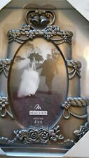 "MALDEN 4""×6"" wedding cake pewter frame"