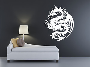 Dragon Mythical Flying Oriental Monster Tattoo Wall decal sticker art. Any Color