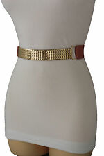 Women Narrow Elastic Fashion Belt Pastel Pink Color Gold Mesh Metal Buckle S M
