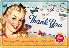 Retro Tin Metal Postcard 'THANK YOU' Stationery Store Ad Mini Sign 1950's
