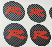 Honda 4 x Carbon Centre Cap Red R Sticker Decal Accord CL7 Type S K20 JDM OEM