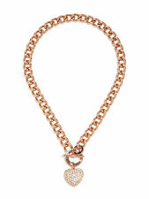 NWT Guess Rose-Gold Metal-Clear Stones Heart Charm Stamped Logo Toggle Necklace