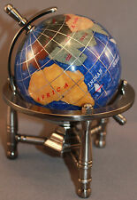 Multi-Gemstone 90mm Desktop Globe in Cambridge Blue - Pewter Tone Base Free S&H