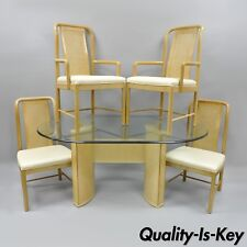Drexel Heritage Compatibles Blonde Wood Dining Room Set Table 4 Chairs Art  Deco