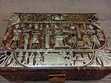 Real Leather Jewelry Box with Gold Embossed Design (20x14x7 cm)