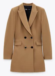 ZARA NEW WOMAN DOUBLE-BREASTED FROCK COAT LONG BLAZER DRESS CAMEL XS S L