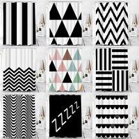 Black White Modern Luxury Geometric Bathroom Shower Curtain Waterproof Fabric