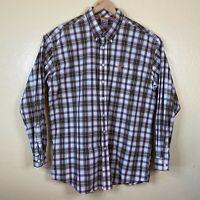 Cinch Western Cowboy Shirt Button Up Mens 2XL Brown White Plaid Long Sleeve