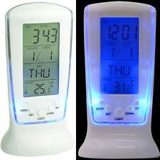Reloj Despertador LCD Digital Calendario Termómetro Temperatura Luz de Fondo Luz De Noche