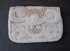 ANTIQUE 1920'S ART DECO FLAPPER WHITE HAND BEADED BEIGE SILK CLUTCH PURSE