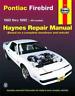 Haynes Workshop Manual Pontiac Firebird 1982-1992 New Service Repair V6 V8