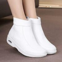 Womens Nursing Leather Fur Lined Work Boots Nurse Hospital Warm White Shoes New