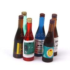 Dollhouse Miniature 6pcs Wine Bottles Kitchen Pub Bar Food Drink Accessory