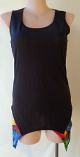 Taking Shape size XS/14 stretch black sleeveless long top multicolour lining