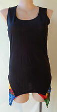 Taking Shape size XS/14 stretch black sleeveless long top colourful lining