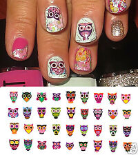 Sugar Skull Style Owl Nail Art Waterslide Decals #2 -  Salon Quality!