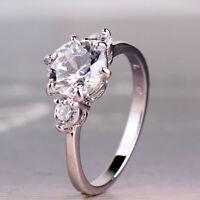 Fascinating white sapphire noble 18k white gold filled desirable ring SzJ-SzR