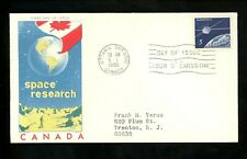 Postal History Canada Fdc #445 Jackson Chickering Space Research 1966