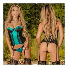 Victorian Dreams Corset & Thong Set Turquoise Small