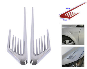 2x Chrome Car Side Air Vent Fender Cover Hood Grille Pointed Decorative Sticker