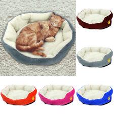 Fleece Dog Bed Round Sofa Pet Cat Sleep Mat for Crates Cushion Kennel Grey Pink