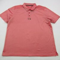 Oakley Mens Polo Shirt Short Sleeve XL Performance Golf Collar Pink