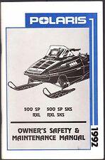1992 POLARIS SNOWMOBILE 500 SP, RXL, & RXL SKS OWNERS/MAINTENANCE MANUAL (848)