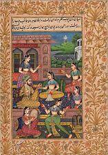 Mughal Miniature Art Handmade Indian Classical Harem Watercolor Folk Painting