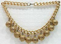 BIGIOTTERIA - Collana - Girocollo con perle in metallo dorato traforato -Vintage