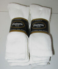 DIABETIC SOCKS 6 PAIR WHITE CREW SIZE 13/15  NON- BINDING TOP ( MADE IN U.S.A.)