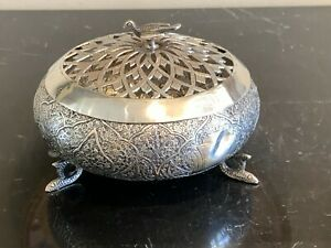 Silver Ornate Persian Islamic Incense Censer Box with Dove Finial 221 Grams