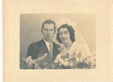 Superbe Grande photo de mariage vintage fleurs wedding Louis Bares Argenteuil