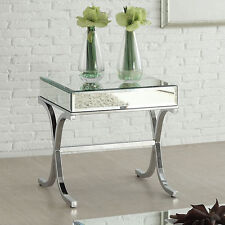 Yuri Modern Living Room End Side Table Stand Mirrored Top Chrome Metal X Base