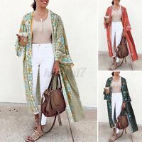 ZANZEA UK Womens Floral Coat Jacket Kimono Long Cardigan Maxi Cover Up Swimwear