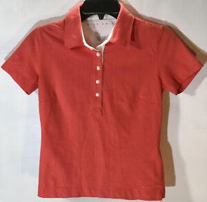 NIKE Golf Fit Dry Polo Shirt. Orange W/Tiny White Polka Dots Women's Size XS.