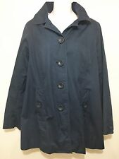 L.L. Bean Womens S Navy Blue Hooded Raincoat Jacket Sailboat Lining Waterproof