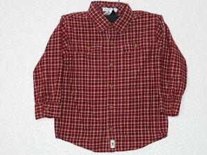 Janie and Jack 5T Boys Button Dress Shirt Plaid Check Brick Red Long Sleeve