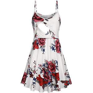Pregnant Women Floral Dress Maternity Summer Casual Slim Suspender Sleepdress L