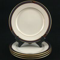 "Set of 4 VTG Bread Plates 6 1/2"" by Gorham Regatta Fine China Blue and Maroon"