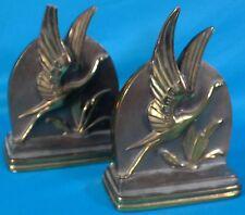 Vintage Dodge inc. Art Deco Bronze Flying Crane Bookends