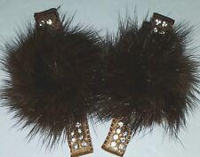 Mink Fur Hair Clip Barrette  Covered In Ribbon Rhinestones
