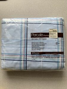 King FittedSheet Blue stripped shirttails Percale Vintage NEW in Package 180 ct