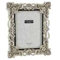 """Antique Silver Ornate Floral Resin Photo Frame with Crystals - 5"""" x 7"""""""