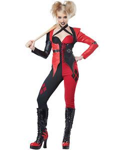 Psycho Giullare Clown Harley Quinn Adulti Fumetto Halloween Costume-Xs