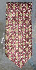 Mens Guido Vietri silk necktie gold olive green tankard network on burgundy