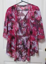 Ladies blouse size 16 Pink floral short sleeves Spirit Label