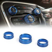 3x Air Condition&Audio Switch Knob Trim Ring Fits RAM 12-17 / Charger 15+ Blue