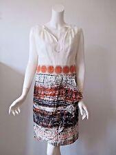 Milly Of New York Beige Orange Prints Hobo Sleeveless Linen Dress 8