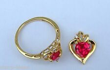 Heart Ruby & Diamond Ring & Pendant Set - Gold Over Sterling Silver