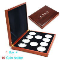 "Oak Coin Wood Case Display Box Wood Storage Holders for 10 2"" Coins US Stock"
